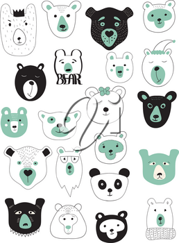 Vector Winter Bears Set. 21 different bears' heads