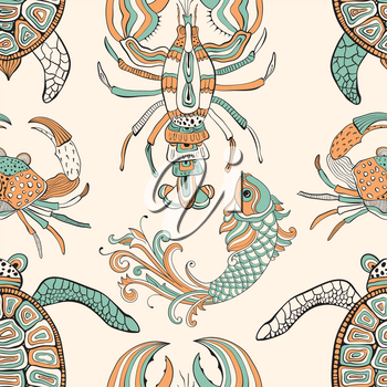 Vector seamless pattern with turtles, crabs, lobsters, and fishes.   Retro vintage style.