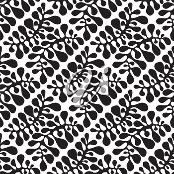 Vector Seamless Floral Pattern. Hand drawn by ink and brush. Japanese style