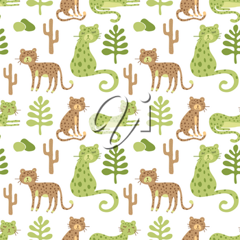 Vector Seamless Safari Pattern with leopards and savannah landscape