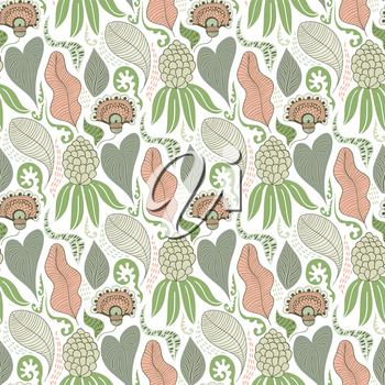 Vector Seamless Tough  Pattern with Flowers and Leaves.