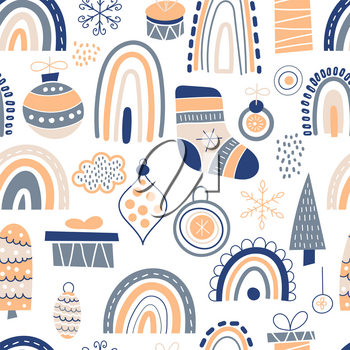 Vector Seamless Christmas Pattern with boxies, toys, rainbow, fir trees, socks, etc. Childish naive scandinavian style. Design Elements set