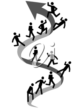 Royalty Free Clipart Image of People Moving Up