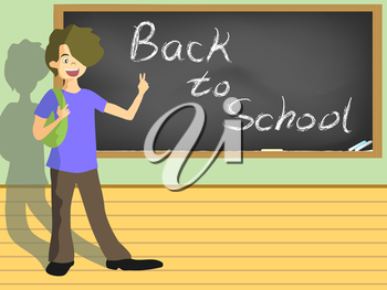 Royalty Free Clipart Image of a Student by a Chalkboard