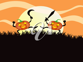 Royalty Free Clipart Image of Two Pumpkins
