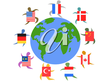 Royalty Free Clipart Image of People Around the World