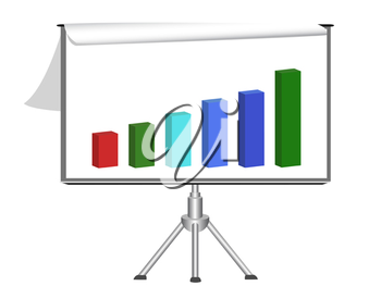 Royalty Free Clipart Image of a Flip Chart on a Board