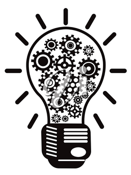 Royalty Free Clipart Image of a Light Bulb With Gears
