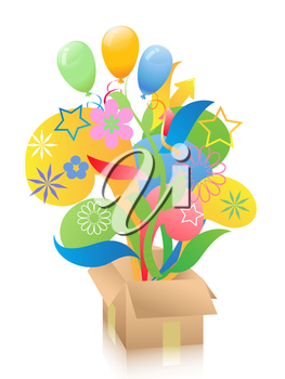 Royalty Free Clipart Image of a Box of Balloons