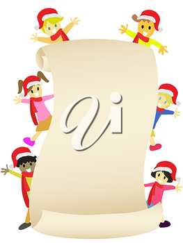 Royalty Free Clipart Image of Children in Santa Hats