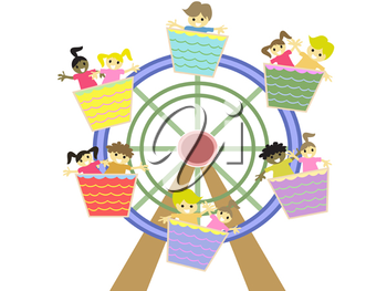 Royalty Free Clipart Image of Kids in an Amusement Park