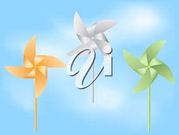 Royalty Free Clipart Image of Paper Windmills