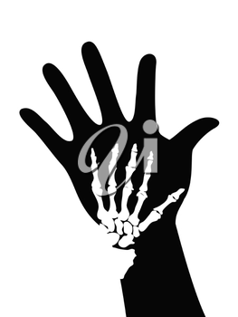Royalty Free Clipart Image of Bones on a Hand