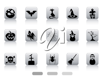isolated Halloween button icons set on white background