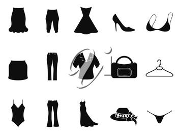 isolated black woman fashion icons set from white background