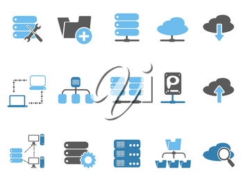 isolated web host icons set, blue series from white background