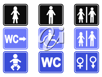 isolated wc button icons set on white background