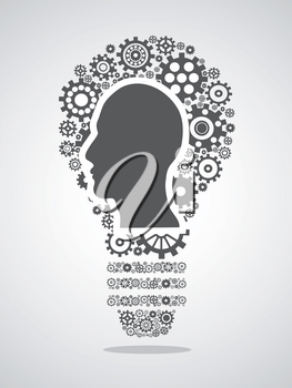 isolated human head in Gears forming a light bulb on white background