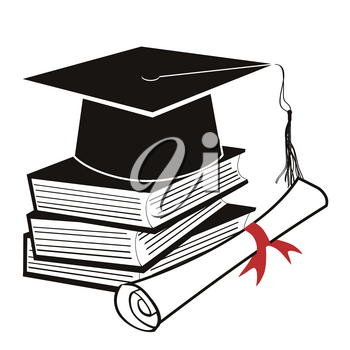 isolated black graduation cap on book from white background
