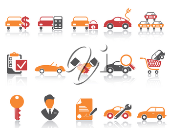 isolated orange red color series car dealer icons set from white background