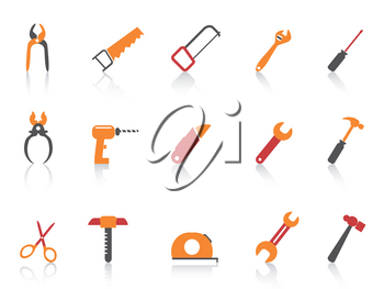 isolated simple orange color hand tool icons set from white background