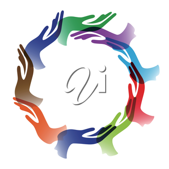 isolated Diversity hands circle background on white background