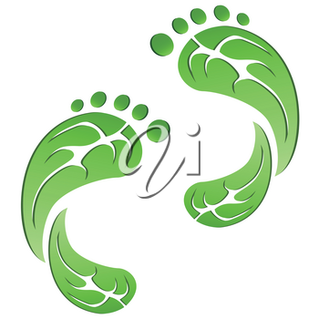 isolated green leaf carbon eco footprints on white background