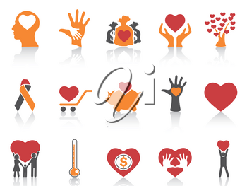 isolated orange color charity icons set from white background