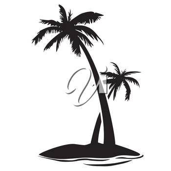 isolaetd palm tree island silhouette from white background