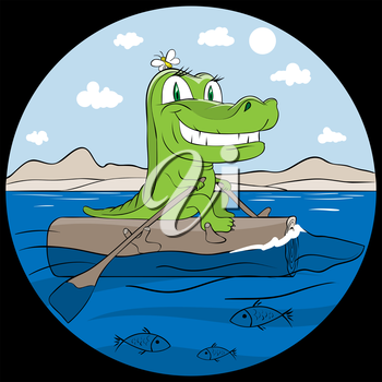 Royalty Free Clipart Image of a Crocodile on a Log