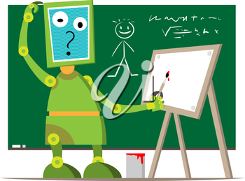 Royalty Free Clipart Image of a Robot Cartoon