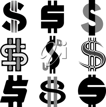 Royalty Free Clipart Image of Dollar Signs