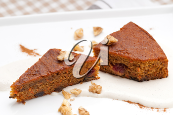 Royalty Free Photo of Carrot Cake and Walnuts