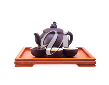 chinese green tea clay pot and cups on bamboo wood tray isolated over white