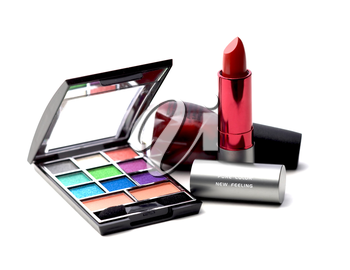 makeup tools on white background