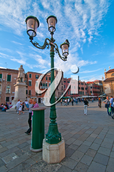 Venice Italy campo San stefano view with blue sky and white clouds