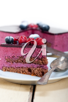 blueberry and raspberry cake mousse dessert with spice