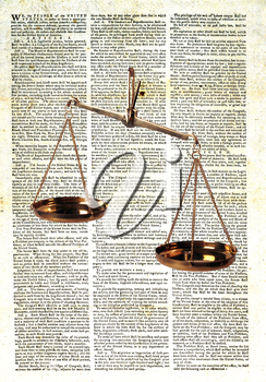 Royalty Free Photo of The US Constitution And Scales Of Justice