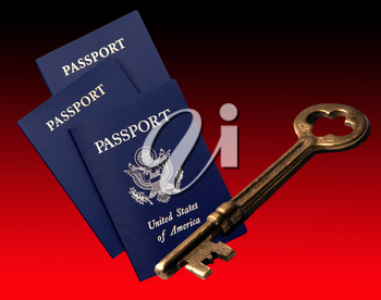 Royalty Free Photo of Passports and a Key