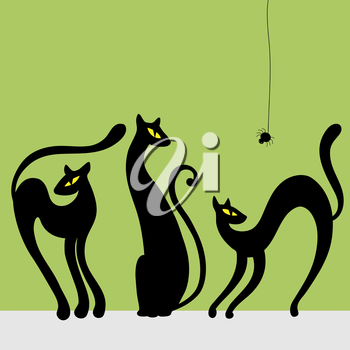 Royalty Free Clipart Image of Three Black Cats and a Spider