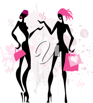 Royalty Free Clipart Image of Two Women Shopping