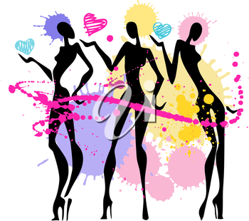 Royalty Free Clipart Image of three Women