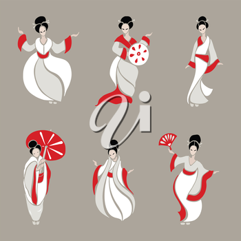 Beautiful Chinese Women in ethnic style. Vector Illustration