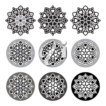 Set of mandalas. Decorative round ornaments. Geometric circle element, Hand drawn Vector illustration.