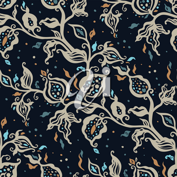 Exotic vintage pattern with blue flowers. Seamless Paisley floral, vector illustration. Can be used for wallpaper, textile, phone case print