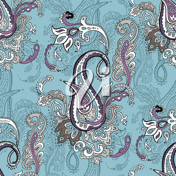 Seamless vector background with Paisley. Hand Drawn Boho ornament. Vintage fashion pattern for your design