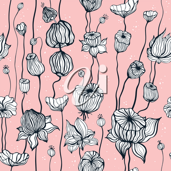 Vintage pattern with hand drawn Abstract Flowers. Seamless ornament. Can be used for wallpaper, website background, textile, phone case print