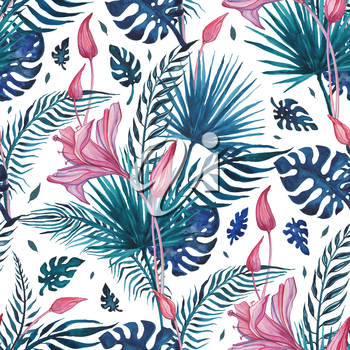 Tropical flowers Abstract Flower. Hand Drawn Floral Pattern. Seamless Watercolor illustration. Can be used for wallpaper, website background, textile, phone case print