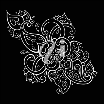 Floral decorative pattern. Paisley Ethnic ornament. Hand Drawn Vector illustration