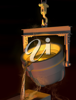 Royalty Free Clipart Image of Molten Metal Being Poured